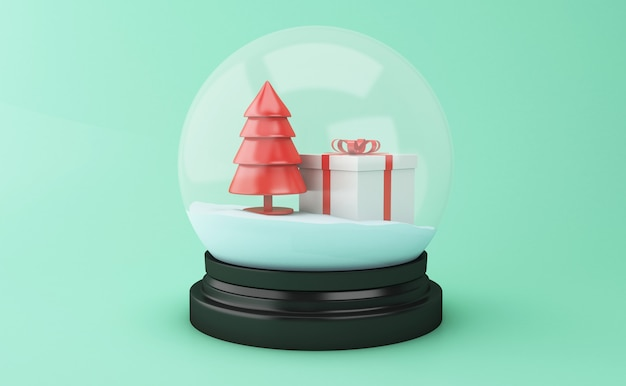 Globo da neve 3d com árvore de natal e caixa de presente. Foto Premium