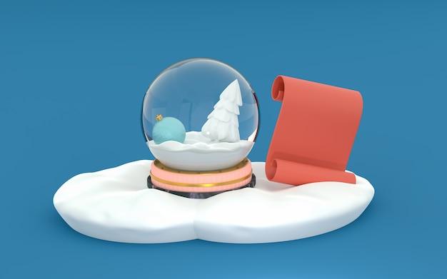 Globo de neve com um brinquedo de ano novo e um abeto branco na neve isolado em um fundo azul. pergaminho vermelho para texto. renderização 3d. modelo de layout, cartão comemorativo Foto Premium
