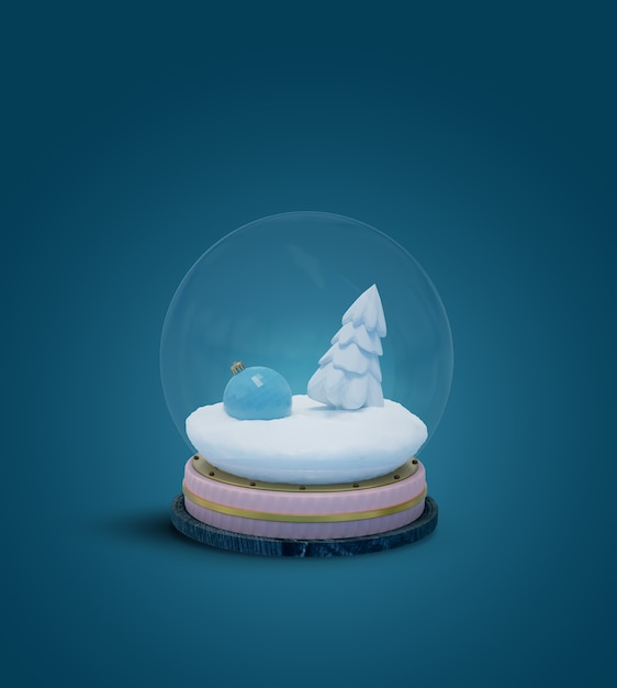 Globo de neve com um brinquedo de ano novo e um abeto branco na neve isolado em um fundo azul. renderização 3d. modelo de layout, cartão comemorativo Foto Premium