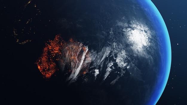 Globo terrestre com mapa da austrália totalmente queimado e em chamas Foto Premium
