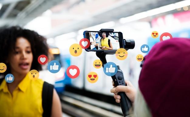 Gosta de mídia social Foto Premium