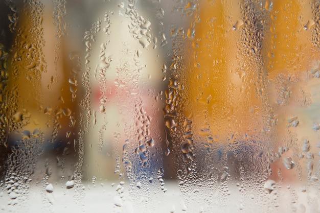 Gotas de água no vidro. Foto Premium