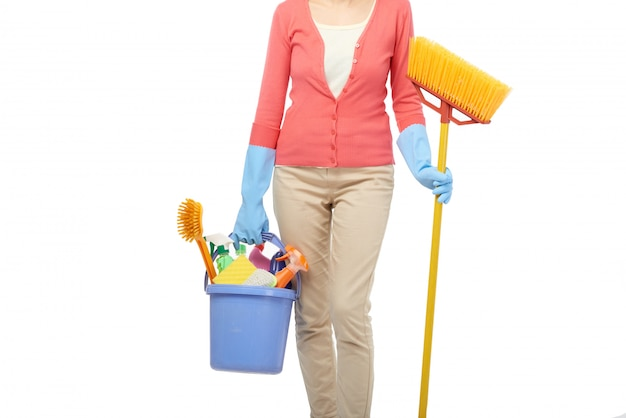 Governanta casa de limpeza Foto gratuita