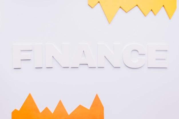 Gráfico amarelo e laranja com texto de finanças em fundo branco Foto gratuita