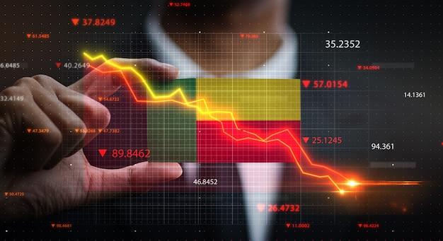 Gráfico caindo na frente da bandeira do benin. conceito de crise Foto Premium