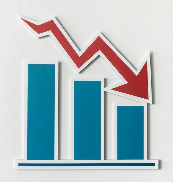 Gráfico de barras de relatório de negócios em declínio Foto gratuita