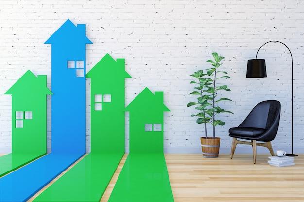 Gráfico de barras de seta 3d em forma de casa ir para cima na indexação de sala de estar Foto Premium