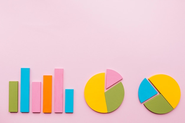 Gráfico de barras e dois gráfico de pizza no fundo rosa Foto gratuita