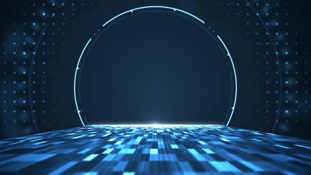 Gráfico de movimento para centro digital de big data abstrato, servidor e transferência de dados de comunicação Foto Premium