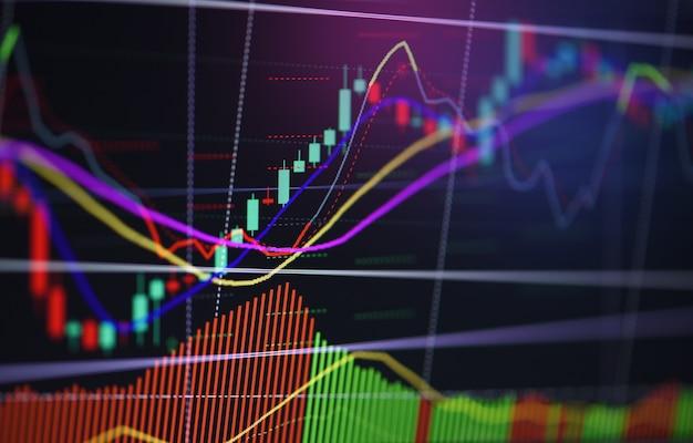 Gráfico financeiro do mercado de valores de ação da análise da carta do gráfico de negócio. mercado de ações ou gráfico de negociação cambial e indicador de gráfico de velas para investimento financeiro Foto Premium