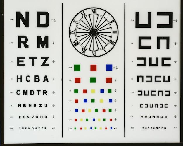 Gráfico optométrico para controlar problemas de visão como miopia, hipermetropia, daltonismo ou astigmatismo em uma clínica óptica. Foto Premium