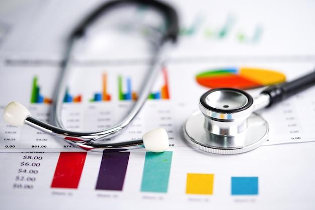 Gráfico papel gráfico. financeira, conta, estatística, economia de dados de pesquisa analítica, negócios. Foto Premium