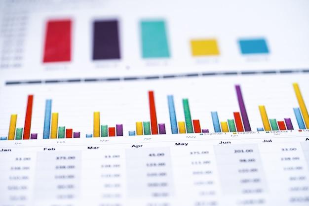 Gráficos e relatório de papel de gráfico financiam negócio Foto Premium