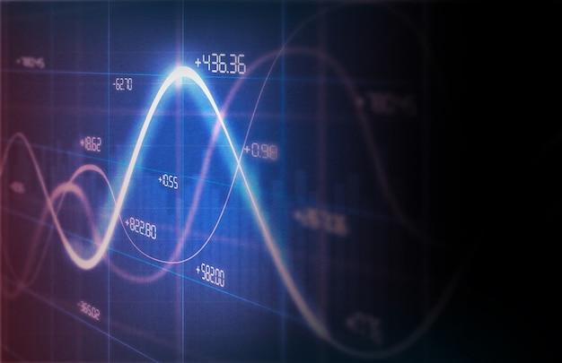 Gráficos financeiros e gráficos gráfico de linha de fundo na tela Foto Premium