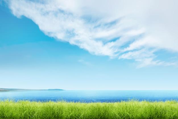 Grama verde com vista para o mar azul e cloudscapes Foto Premium