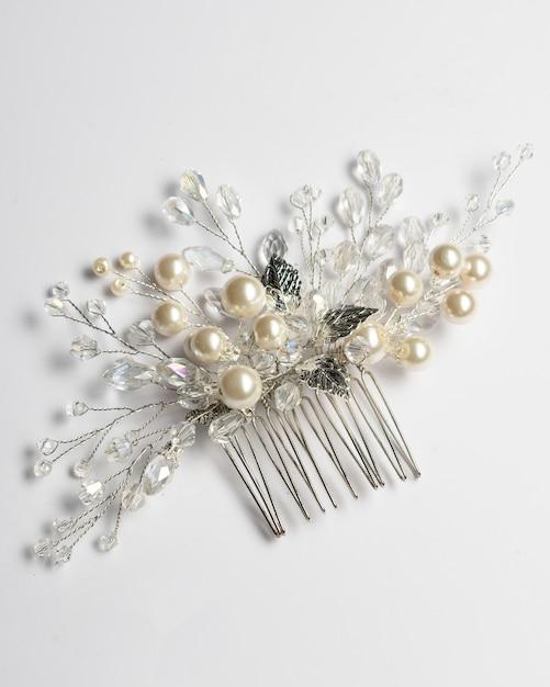 Grampo de cabelo para casamento, joias com pérolas e acessórios. Foto Premium