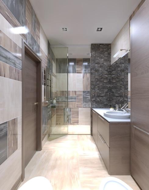 Grande banheiro interior moderno com uma das soluções mais inusitadas misturando os azulejos nas paredes. Foto Premium