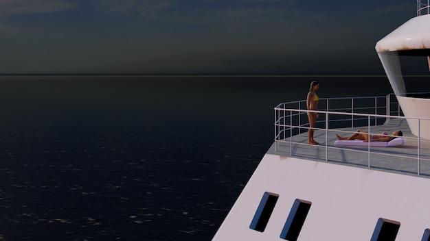 Grande barco no mar ao pôr do sol com a câmera se aproximando de meninas de bronzeamento Foto Premium