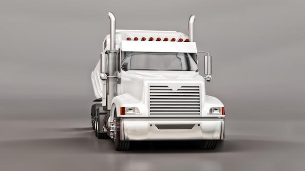 Grande caminhão americano branco com um caminhão tipo reboque para o transporte de carga a granel em um fundo cinza. ilustração 3d. Foto Premium