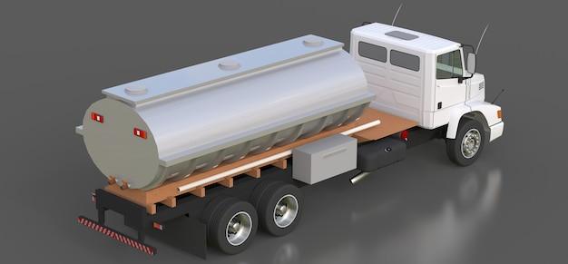 Grande caminhão-tanque branco com reboque de metal polido. vistas de todos os lados. ilustração 3d. Foto Premium