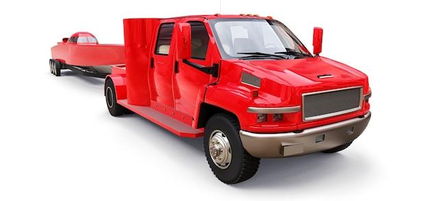 Grande caminhão vermelho com reboque para transportar um barco de corrida em um fundo branco. renderização 3d. Foto Premium