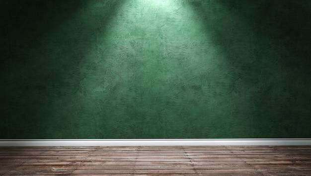 Grande e moderno quarto com parede de gesso verde e luz direcional Foto Premium