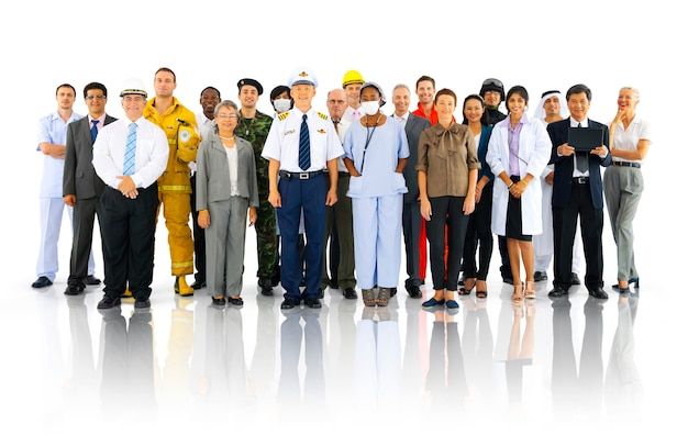 Grande grupo de profissionais Foto Premium