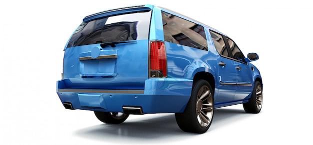 Grande suv premium azul em um espaço em branco. renderização em 3d. Foto Premium