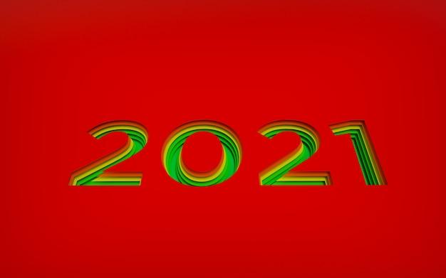 Grandes números vermelhos feliz ano novo gravado no fundo em camadas, gradiente de cor de vermelho para verde desejo. desenho 3d em camadas recortadas, renderização Foto Premium