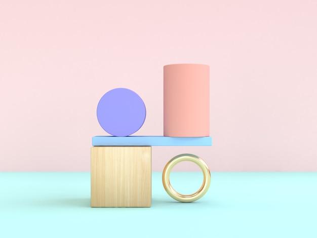Gravidade. rendição 3d colorida pastel abstrata da forma geométrica Foto Premium