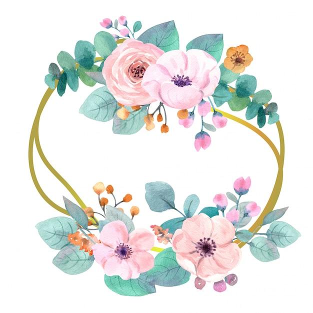 Grinalda de flores em aquarela Foto Premium