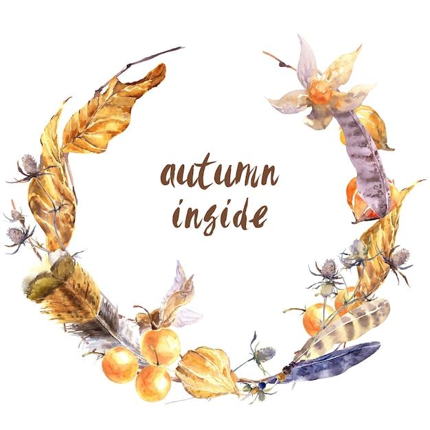 Grinalda de histórias de outono. folhas secas caídas amarelas, penas selvagens, galhos, flores e bagas isoladas Foto Premium