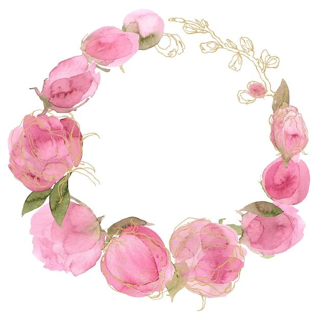 Grinalda floral da aquarela da cor-de-rosa da cor. Foto Premium