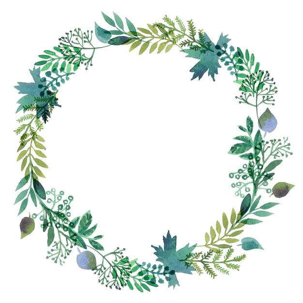 Grinaldas feitas de folhas de aquarela. Foto Premium