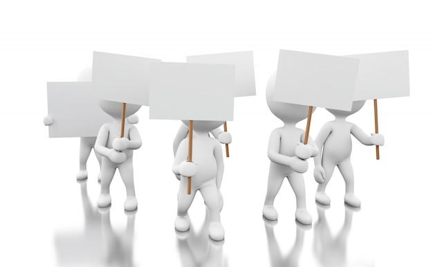 Grupo 3d de pessoas brancas que protestam. Foto Premium