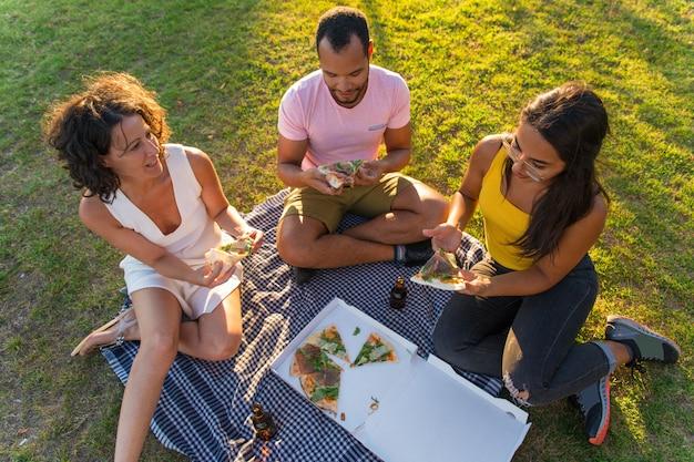 Grupo de amigos, desfrutando de pizza, comer no parque Foto gratuita