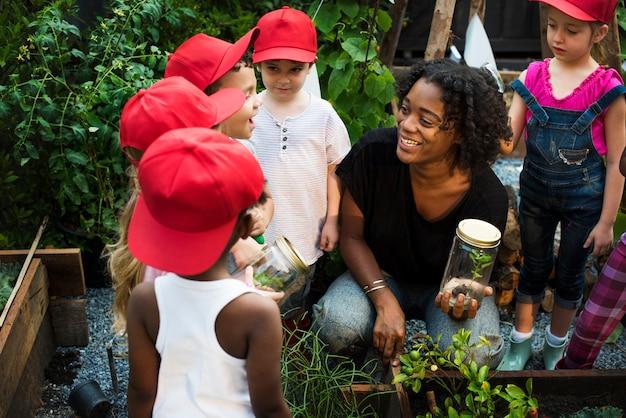 Grupo, de, diverso, crianças, aprendizagem, meio ambiente, em, fazenda Foto Premium