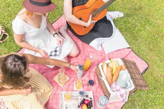 Grupo, de, femininas, amigos, desfrutando, em, a, piquenique, sentando, ligado, cobertor Foto gratuita