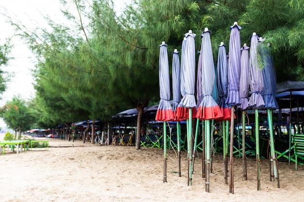 Grupo de guarda-chuva de praia roxa e cadeiras dispostas ao longo da praia na tailândia Foto Premium