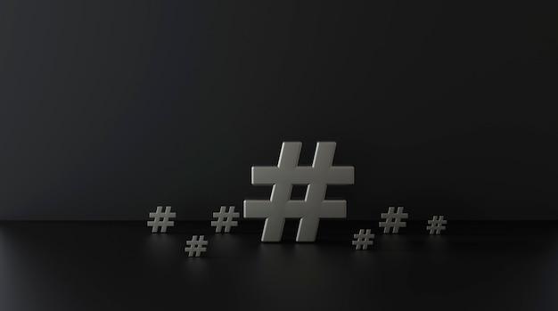 Grupo de ícone de hashtag de prata sobre fundo escuro. ilustração 3d Foto Premium