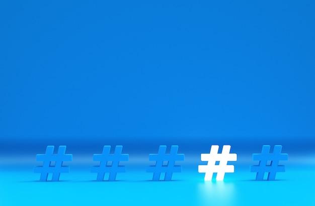 Grupo de ícone de hashtag isolado em azul Foto Premium