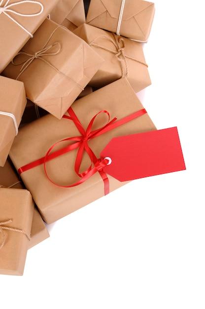 Grupo de parcelas, tag presente vermelho Foto Premium