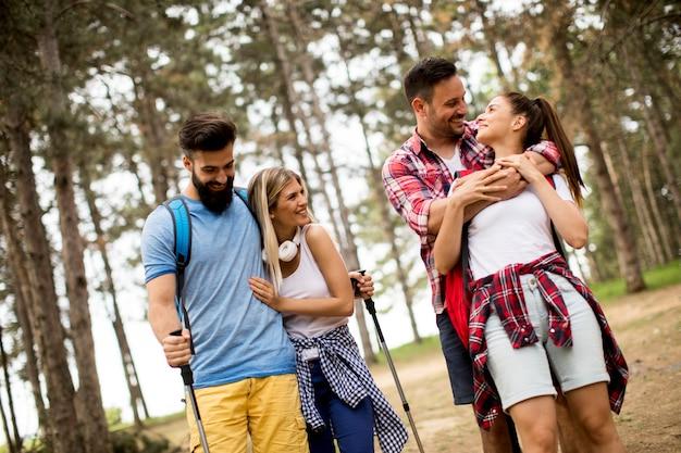 Grupo de quatro amigos caminhando juntos através de uma floresta Foto Premium