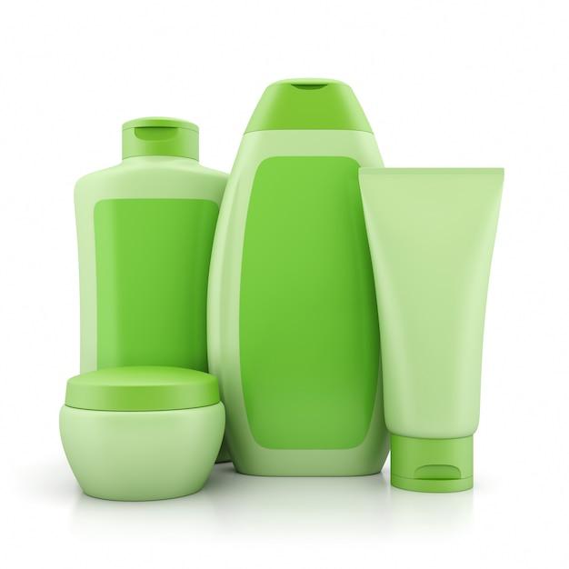 Grupo de recipientes cosméticos verdes Foto Premium