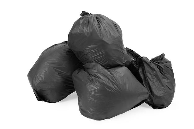 Grupo de sacos de lixo isolado no branco Foto Premium