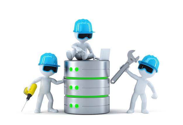 Grupo de técnicos com base de dados. conceito de tecnologia Foto Premium