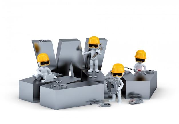 Grupo de trabalhadores da construção civil / construtores com sinal www. construção de site ou conceito de reparação. Foto Premium