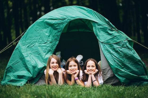 Grupo meninas, acampar, em, floresta Foto gratuita