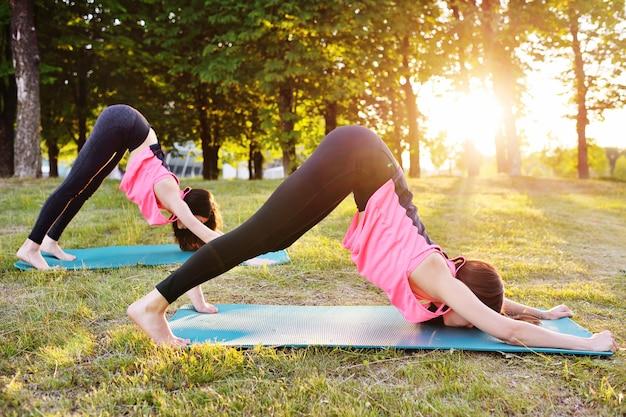 Grupo meninas, acoplado, em, condicão física, ou, ioga, ligado, a, capim, contra, a, de, pôr do sol Foto Premium