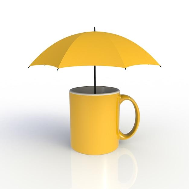 Guarda-chuva com uma xícara de café amarela isolada no branco Foto Premium